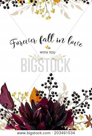 Vector floral design card burgundy Dahlia flower yellow flowers autumn orange leaves and berries. Watercolor style bohemian border frame. Wedding trendy vector invite invitation menu illustration