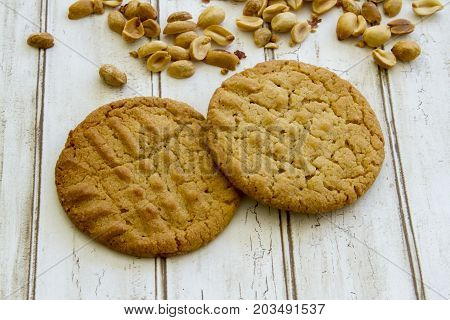Fresh Baked Peanut Butter Cookies With Peanuts