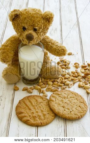 Fresh Baked Peanut Butter Cookies With Glass Of Milk And Teddy Bear