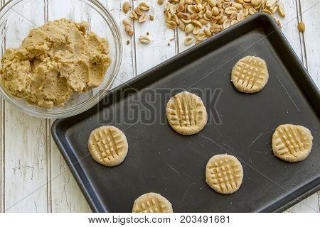 Sheet Of Unbaked Peanut Butter Cookie Dough