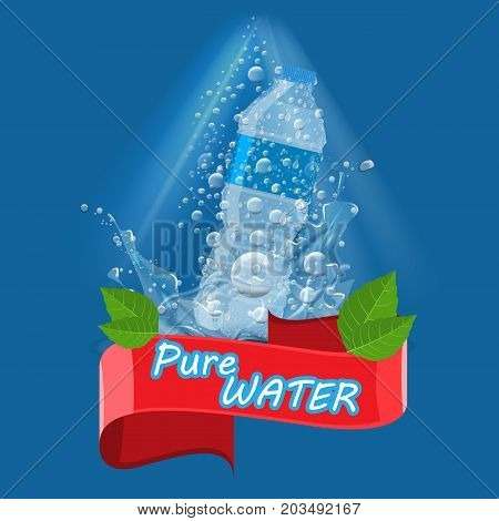 Bottle with clean pure water with water splash and red ribbon. Illustration for water advertisement template.