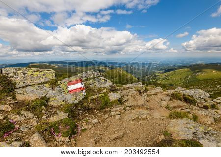 Tourist signs on trail in mountains, Symbol of tourist sign, Trail marking of the route in nature.Styria,Austria.