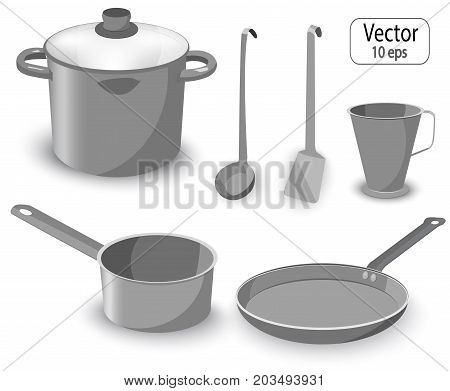 Set Of Kitchen Items For Cooking.