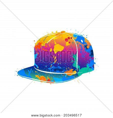 Abstract baseball cap splash of watercolors. Photo illustration of paints.