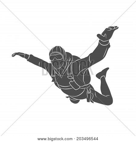 Silhouette skydiver on a white background. Photo illustration.