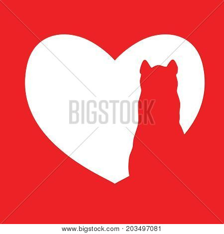 Cute cartoon red cat in heart logo. Kids illustration with domestic animal. Lovely pet. Nice illustration perfect for gift cards, post cards, greeting cards, t-shirts and other designs.