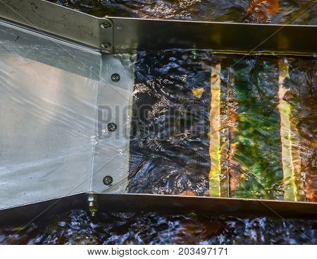 Sluice box with water flowing through. Up close image of gold panning equipment. Fun and adventure enjoying the outdoor recreational activity of prospecting, panning for gold and gemstones.
