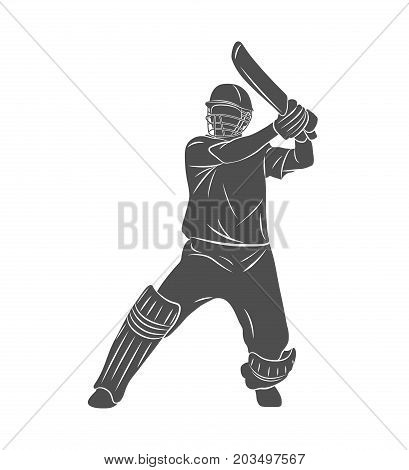 Silhouette batsman playing cricket on a white background. Vector illustration.