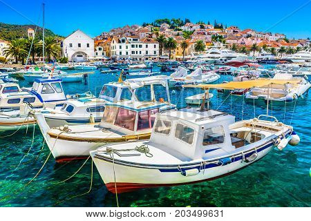 Mediterranean summer scenery in old town Hvar, famous luxury travel destination in Croatia, Europe.