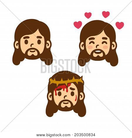 Jesus Christ face set in cute cartoon style. Smiling love and suffering with thorn crown. Vector illustration.