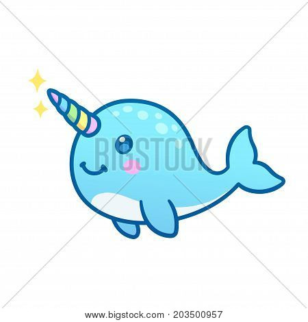 Cute cartoon magic narwhal with rainbow horn funny unicorn whale drawing.