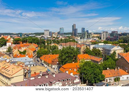 Scenic summer view of the Old Town architecture with from The Bell Tower of Cathedral Basilica Of St. Stanislaus And St. Vladislav in Vilnius, Lithuania