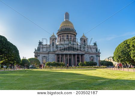 Saint Petersburg Russia - July 10 2017: Saint Isaac's Cathedral The largest Russian Orthodox Cathedral in Saint Petersburg Russia