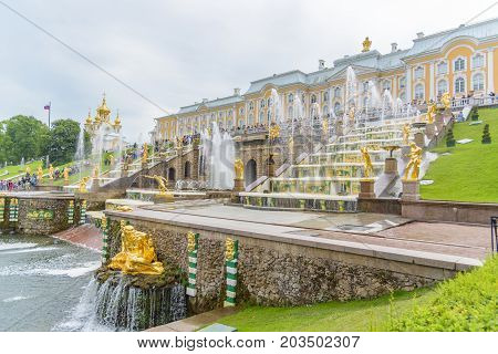 Grand Peterhof Palace And The Grand Cascade, Saint Petersburg, Russia