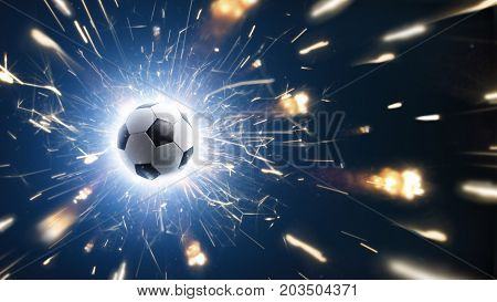 Soccer ball. Soccer background with fire sparks in action on the black