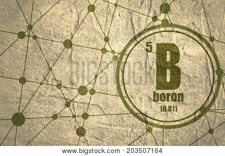 Boron chemical element. Sign with atomic number and atomic weight. Chemical element of periodic table. Molecule And Communication Background. Connected lines with dots. Grunge distress texture.