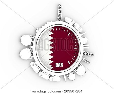Circle with energy relative silhouettes. Design set of natural gas industry. Objects located around the manometer circle. 3D rendering. Flag of the Qatar