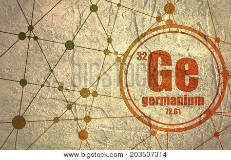 Germanium chemical element. Sign with atomic number and atomic weight. Chemical element of periodic table. Molecule And Communication Background. Connected lines with dots. Grunge distress texture.
