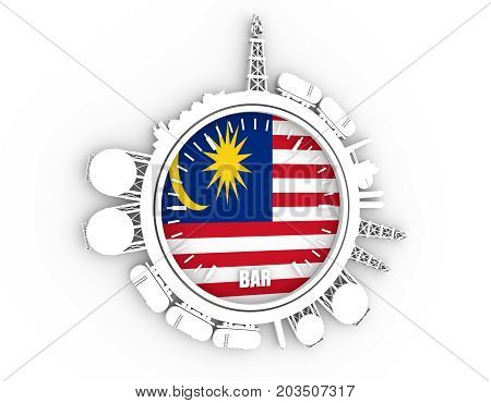 Circle with energy relative silhouettes. Design set of natural gas industry. Objects located around the manometer circle. 3D rendering. Flag of the Malaysia