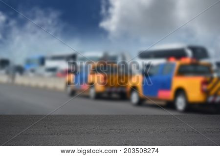 Background blur Ambulance and rescue After an accident on the freeway and can be used for trade shows or empty space for text.