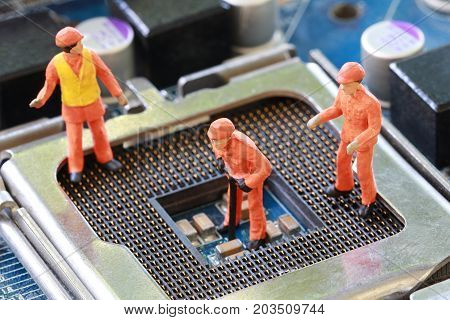 Miners is working on cpu socket of mainboard in concept of doing business with technology of Digital currency.