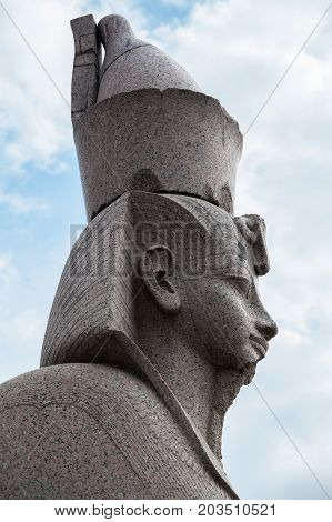 Granite Sphinx Profile. Ancient Monument