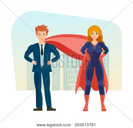 Businessman and superwoman is a superheros, in beautiful business clothes on background of street city. Young characters, superheros, in full growth. Vector illustration, people in cartoon style.
