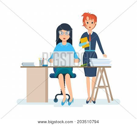 Beautiful girl in strict clothing, working at computer in office, among interior of cabinet, next to her colleague shows statistics, financial position. Vector illustration cartoon isolated
