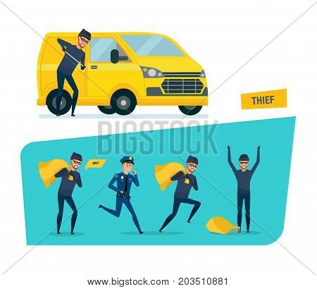 Set of offenders, thief stealing money, thief hacking a car, arrest of criminal in handcuffs, imprisonment. Vector illustration isolated in cartoon style.