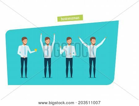 Young businessman, clerk in strict work clothes, in various poses, with documents, gestures, with accessories, at work desk. Growth of savings, success in business. Illustration in cartoon style.