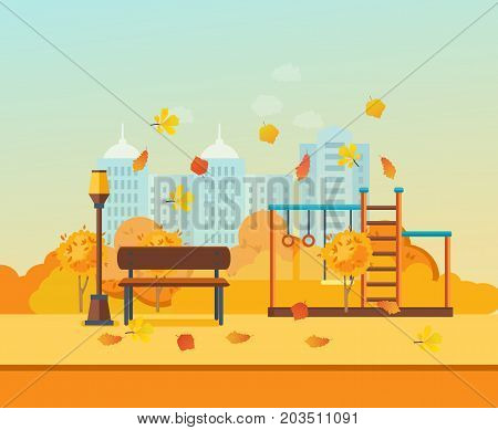 Autumn kids playground, entertainment in the form of horizontal bars and swings, walking park. Autumn city park with colorful seasonal leaves. Modern vector illustration isolated.