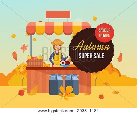 Autumn super sale background with colorful seasonal leaves. Special offers and autumn discount systems. Market farmer selling of products. Girl farmer at counter sells eco food. Vector illustration.