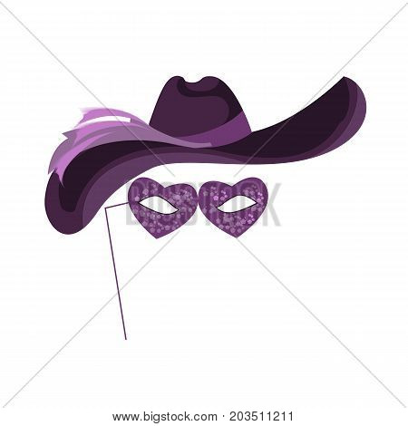Carnival, masquerade, party and festive accessories. Mask in the form of glasses and a carnival hat, with decorative patterns, ribbons and ornaments. Masquerade colorful masks. Vector illustration isolated
