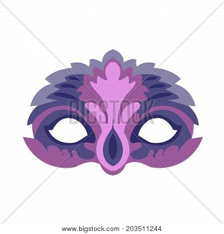 Carnival, masquerade, party and festive accessories. Mask in the form of a silhouette of the face, with decorative patterns and ornaments. Masquerade colorful masks. Vector illustration isolated