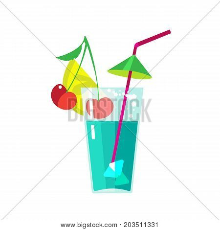 Carnival, masquerade, party and festive accessories. Festive fruit cocktail in a transparent glass with a straw, cherry, lemon and ice. Vector illustration isolated on white background.