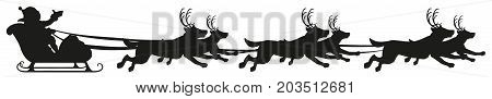 Santa riding dog sled ride. Black silhouette of dogs with horns of deer. Isolated on white vector illustration