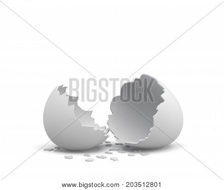 3d rendering of an empty cracked chicken egg with a white shell and several pieces of it lying around. Broken hopes. Poultry farming. Fresh food.