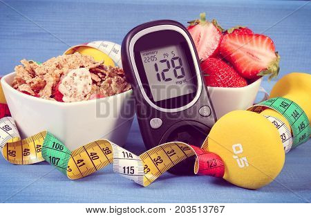 Glucose Meter With Sugar Level, Healthy Food, Dumbbells And Tape Measure