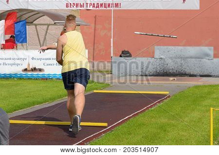 13.08.2017.Russia.Saint-Petersburg.Gorodki - a Russian folk sports game. In this game you need specific distances to smash figures made in different ways from five wooden cylinders.