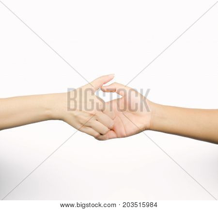 Closeup thumb wrestle between two people a symbol of competition isolated on white background with copy space