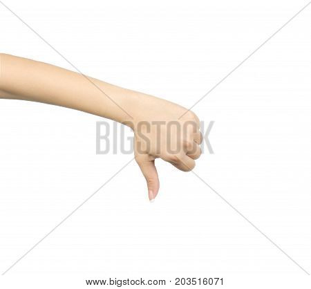 Asian woman hand with thumb down hand sign isolated on white background