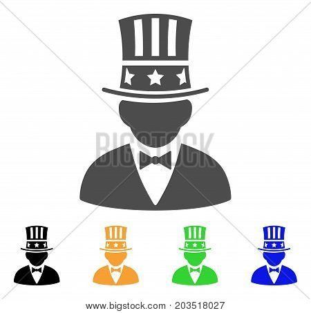 Capitalist icon. Vector illustration style is a flat iconic capitalist symbol with black, grey, green, blue, yellow color variants. Designed for web and software interfaces.