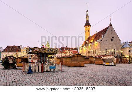 Tallinn Town Hall and Raekoja Square in the Morning Tallinn Estonia
