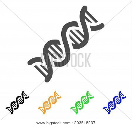 DNA Spiral icon. Vector illustration style is a flat iconic dna spiral symbol with black, gray, green, blue, yellow color versions. Designed for web and software interfaces.