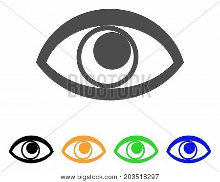 Eye icon. Vector illustration style is a flat iconic eye symbol with black, gray, green, blue, yellow color variants. Designed for web and software interfaces.