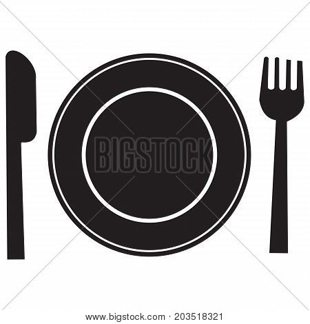 silhouettes of cutlery tableware banquet black blade board breakfast