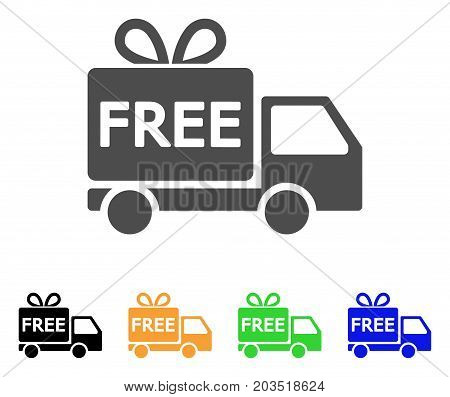 Free Delivery icon. Vector illustration style is a flat iconic free delivery symbol with black, grey, green, blue, yellow color versions. Designed for web and software interfaces.