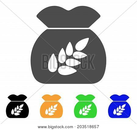 Grain Harvest icon. Vector illustration style is a flat iconic grain harvest symbol with black, gray, green, blue, yellow color versions. Designed for web and software interfaces.