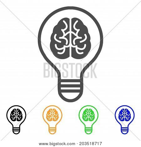 Idea Bulb icon. Vector illustration style is a flat iconic idea bulb symbol with black, grey, green, blue, yellow color versions. Designed for web and software interfaces.