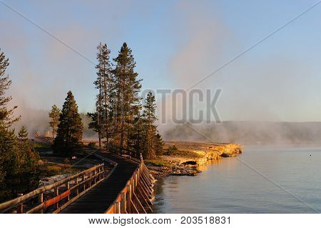 A sunrise in the West Thumb Area in Yellowstone National Park